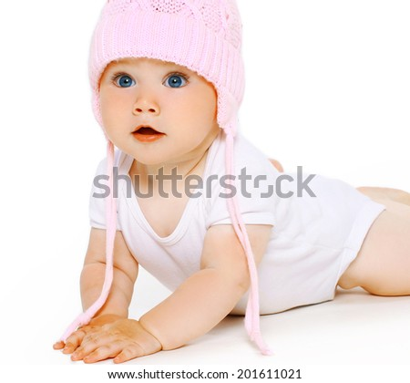 Cute adorable baby in hat - stock photo