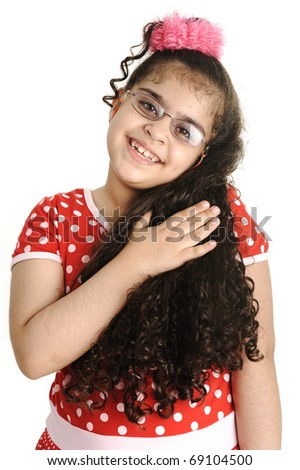 Cute adorable child isolated, female holding her long beautiful hair, mixed race - stock photo