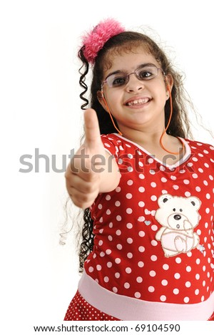 Cute adorable child isolated (simple picture of the bear toy on dress - no trademark) - stock photo