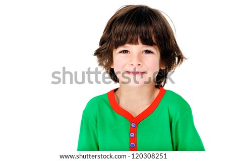 cute adorable happy little boy having fun child portrait isolated on white background - stock photo