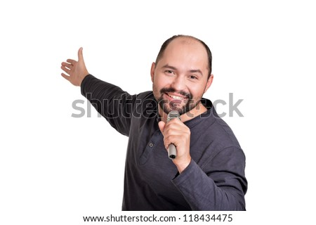 cute adult man on a white background - stock photo