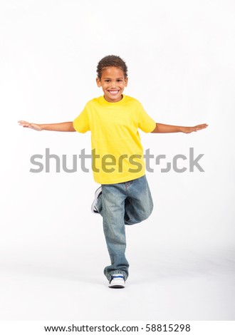 cute african american boy posing over white - stock photo