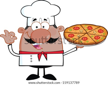 Cute African American Chef Cartoon Character Holding A Pizza Pie. Raster Illustration Isolated on white - stock photo