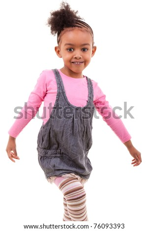 cute african american girl smiling - stock photo
