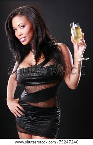 Cute African-American holds a flute - stock photo