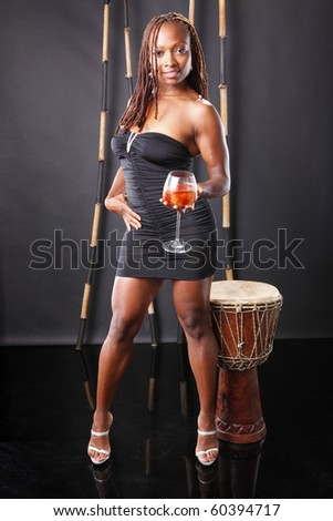 Cute african american with cocktail