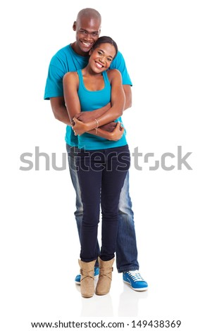 cute african couple isolated on white background - stock photo