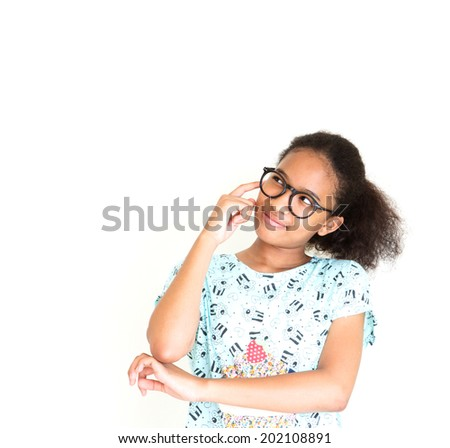 Cute African girl wear glasses thinking of somethings - stock photo