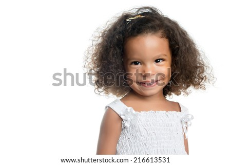 Cute afro american girl with curly hair smiling isolated on white