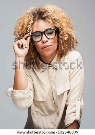Cute Afro Woman - stock photo