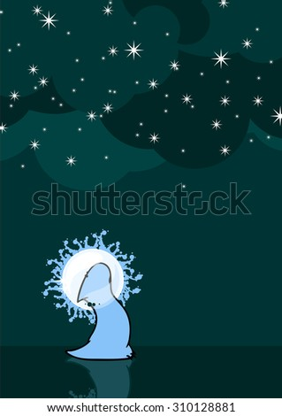 Cute alien looking at snowfall with surprise (raster version) - stock photo
