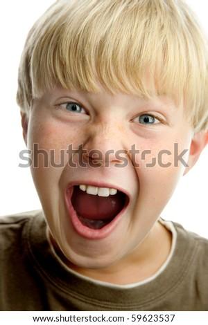 Cute amazed blond boy, isolated on white background - stock photo