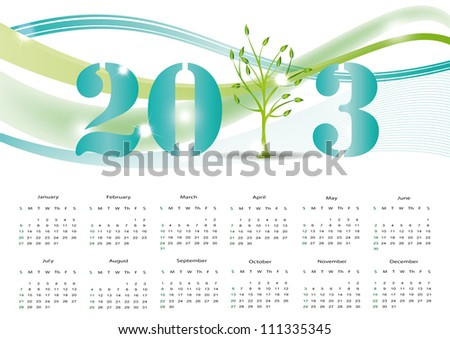 Cute and abstract calendar on New Year 2013