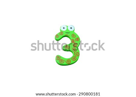 "Cute and colorful wooden number ""3"" on a white background.  Concept of back to school. Close-up shot. - stock photo"