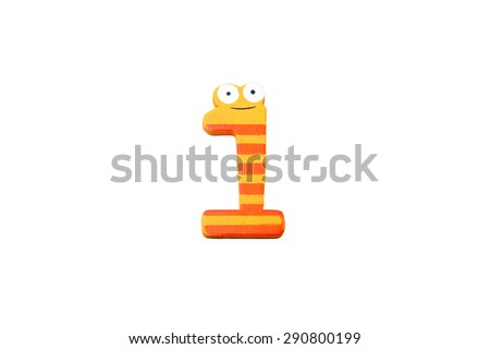 "Cute and colorful wooden number ""1"" on a white background.  Concept of back to school. Close-up shot. - stock photo"
