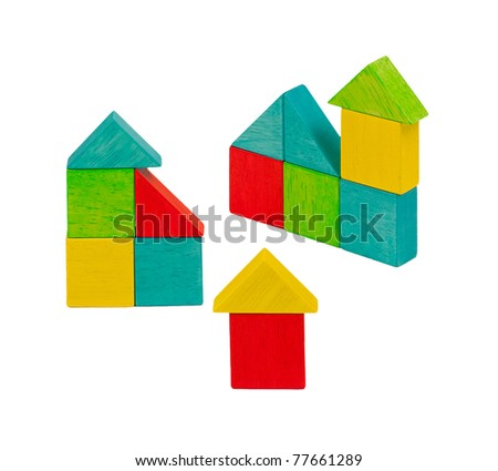 Cute and colorful wooden toy blocks, kid can creates and build home, an image isolated on white