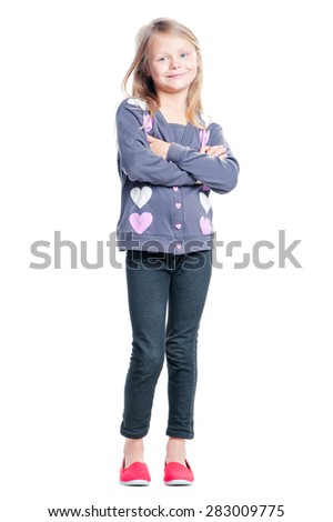 Cute and confident. Full length of beautiful little girl with arms crossed looking at camera. Isolated on white. - stock photo