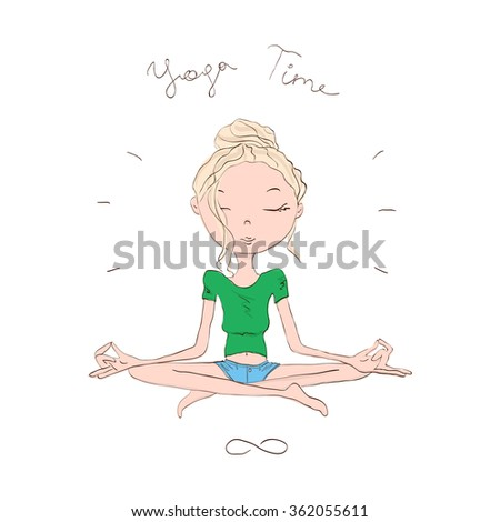 Cute and Cozy Illustration of a Blonde Girl Doing Lotus Asana in Yoga - stock photo