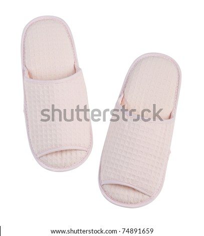 Cute and cozy step with nice slipper - stock photo