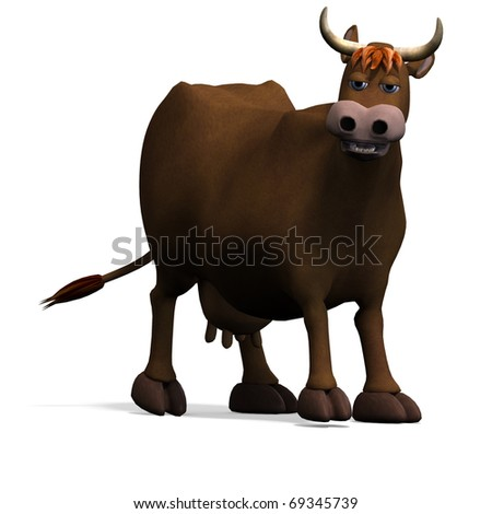 cute and funny cartoon bull. 3D rendering with clipping path and shadow over white - stock photo