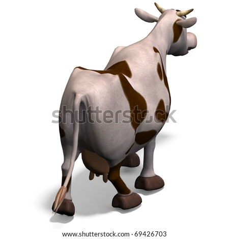 cute and funny cartoon cow. 3D rendering with clipping path and shadow over white - stock photo