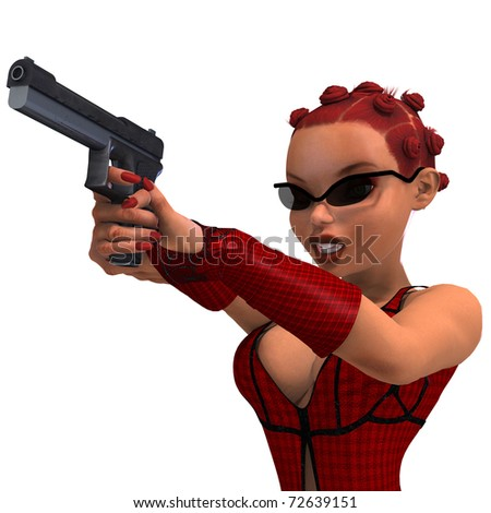 cute and funny female comic spy girl. 3D rendering with clipping path and shadow over white - stock photo