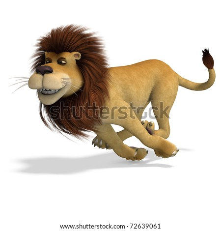cute and funny rendering of a male cartoon lion. 3D rendering with clipping path and shadow over white - stock photo