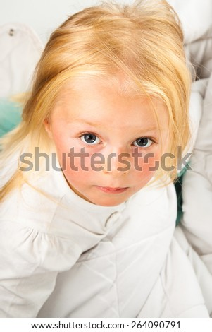 Cute and happy preschool blonde girl - stock photo