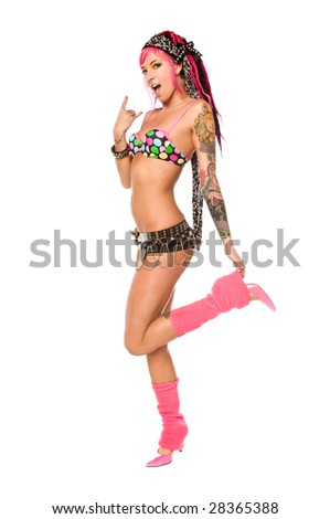 Cute and retro go go dancer with pink hair and lots of tattoos - stock