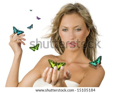 cute and sensual blond girl with flying fruit all around her - stock photo