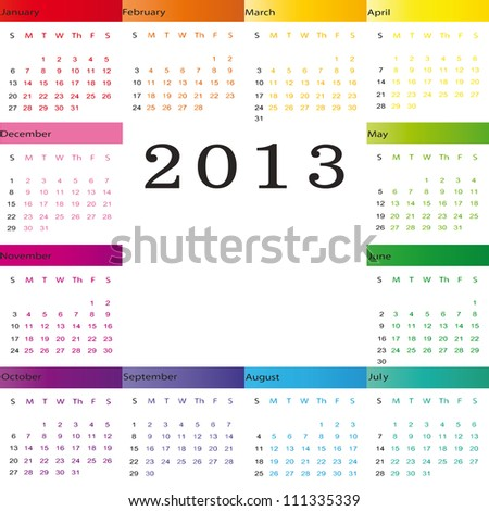Cute and simple calendar on New Year 2013