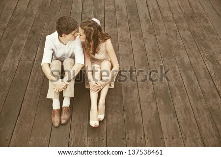 cute and simple loving couple - stock photo