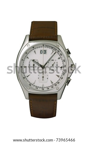 Cute and smart design of the men wristwatch isolated - stock photo