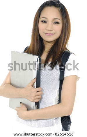 Cute and Smiling Asian college student