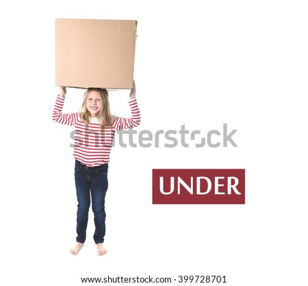 cute and sweet blond hair holding box on her head standing under it isolated on white background in learning english prepositions and words language card set for education school textbook - stock photo