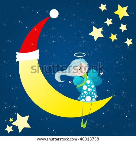 Cute angel sitting on a christmas moon - stock photo