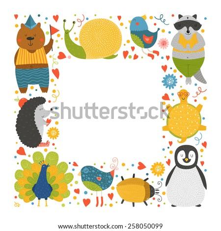 Cute animal frame with baby animals bear, bird, peacock, raccoon, beetle, hedgehog, tortoise,  snail and peacock. Animal border, animal postcard with love - stock photo