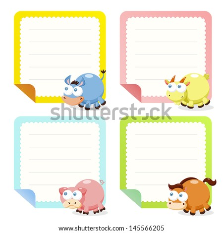 cute animal note papers collection - stock photo