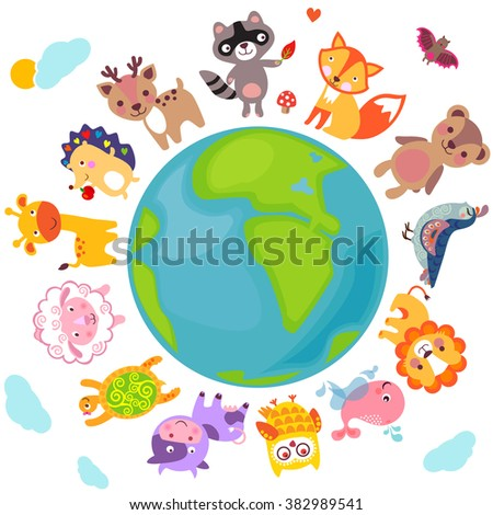 Cute animals walking around globe, Save animals emblem, animal planet, animals world. Cute animals Jpg. Cute animals illustration