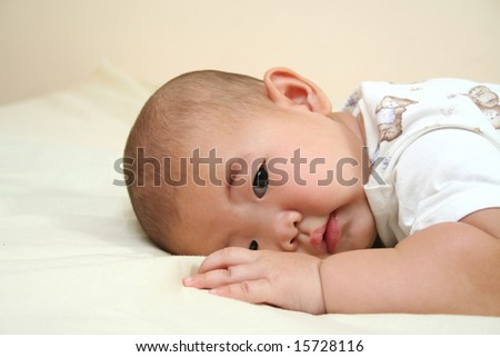 Cute asian baby (five months) - stock photo