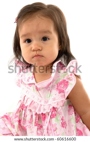 Cute asian baby on white background . - stock photo