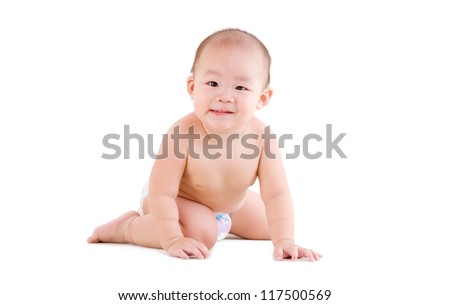 cute asian baby sitting on the floor isolated on white background - stock photo