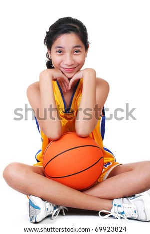 cute asian girl in basketball uniform.white background. - stock photo