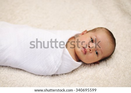 Cute Asian Newborn In Swaddle, Selective Focus - stock photo