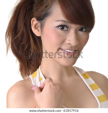 Cute Asian woman, closeup portrait on white background. - stock photo