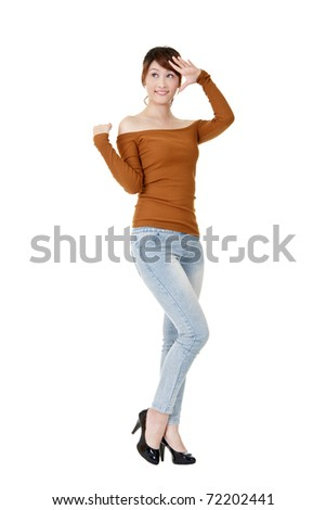 Cute Asian woman posing, full length portrait isolated on white background. - stock photo