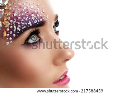 Cute, attractive girl with beautiful make-up - stock photo