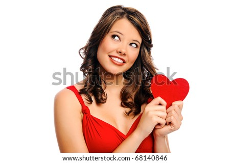 Cute attractive young woman holding a red heart for valentines day, isolated on white - stock photo