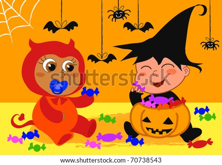 Cute babies playing at a halloween party with candies.