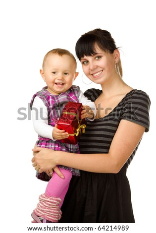 cute baby and a young girl with gift, isolated on white background - stock photo